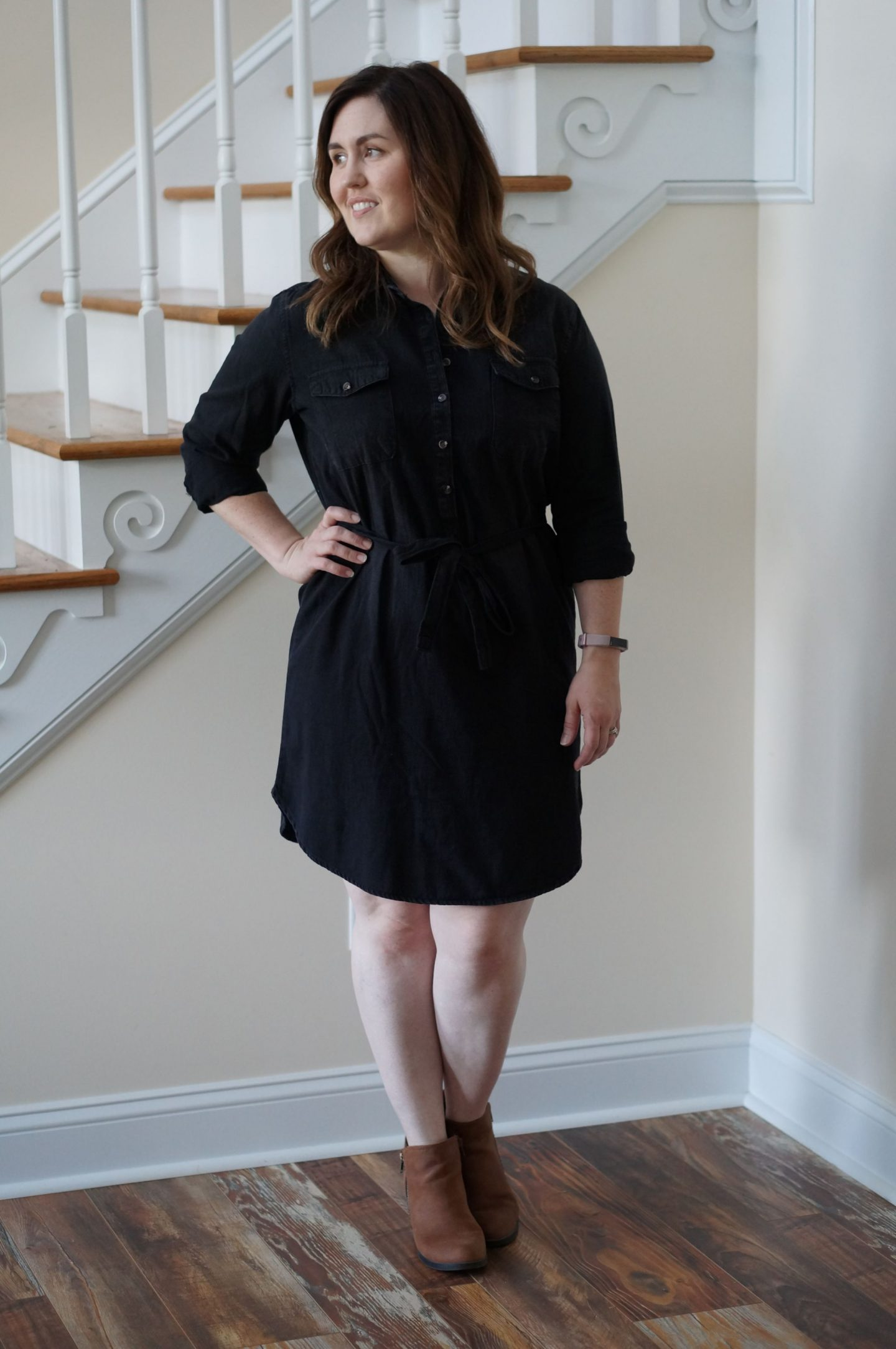 Popular North Carolina style blogger Rebecca Lately shares one of her favorite transitional fall outfits, featuring a black denim dress. Click to read more.