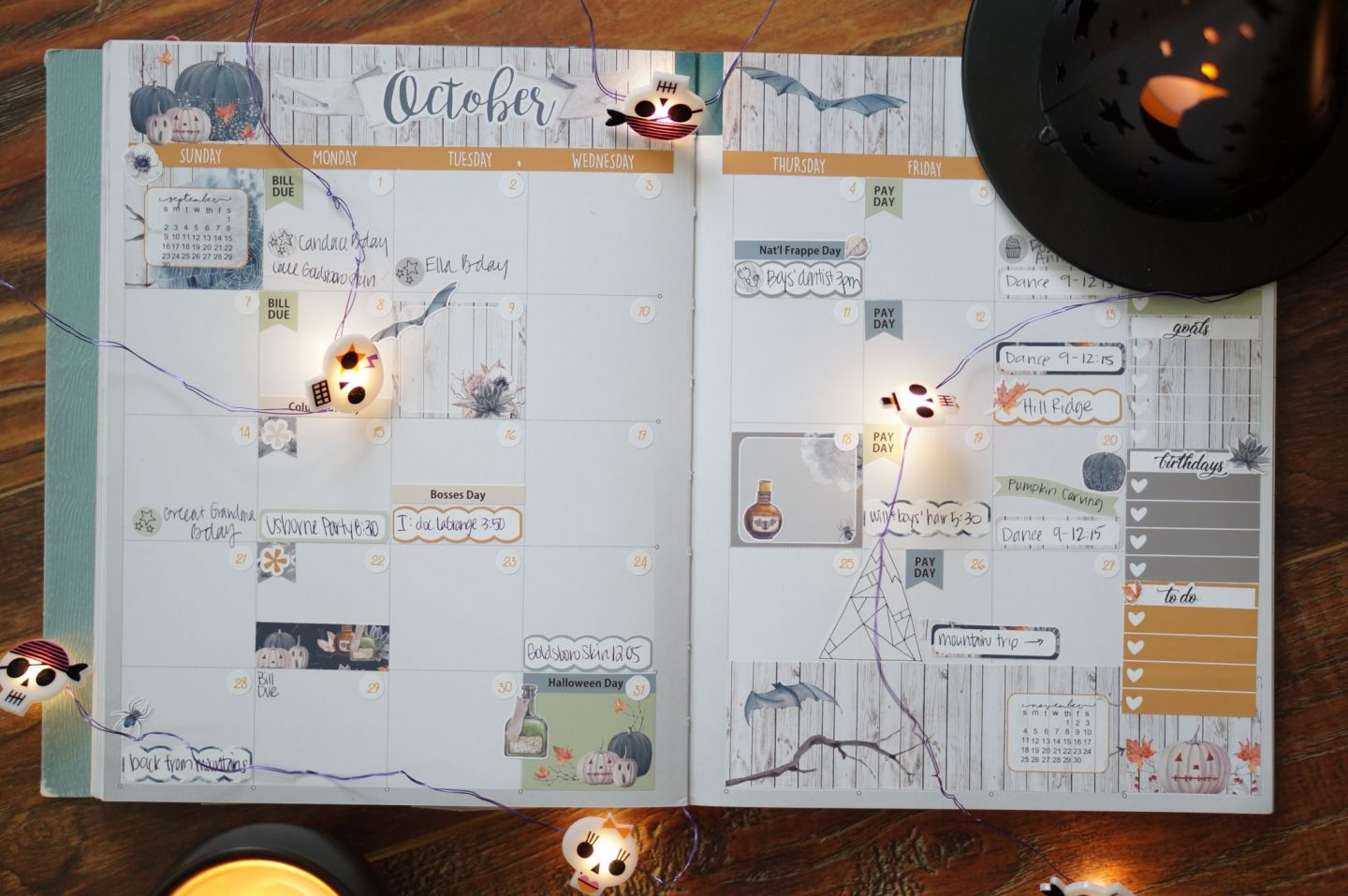 Popular North Carolina style blogger Rebecca Lately shares her monthly spread for October 2018 in her Inkwell Press Coil Free planner.