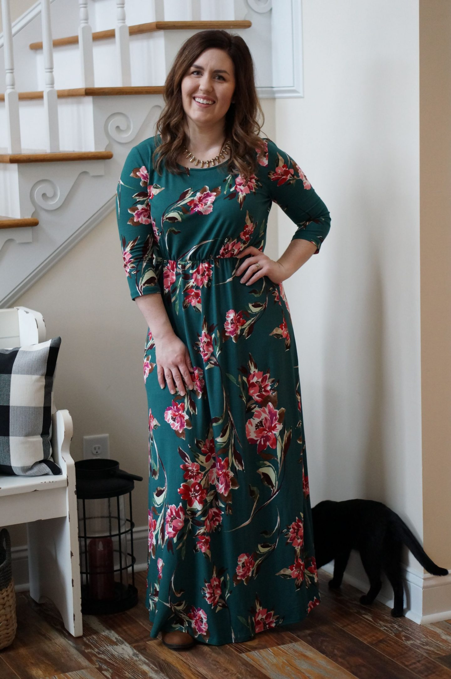 North Carolina style blogger Rebecca Lately shares how she styles her floral maxi dress with a gold bar necklace from Happiness Boutique!