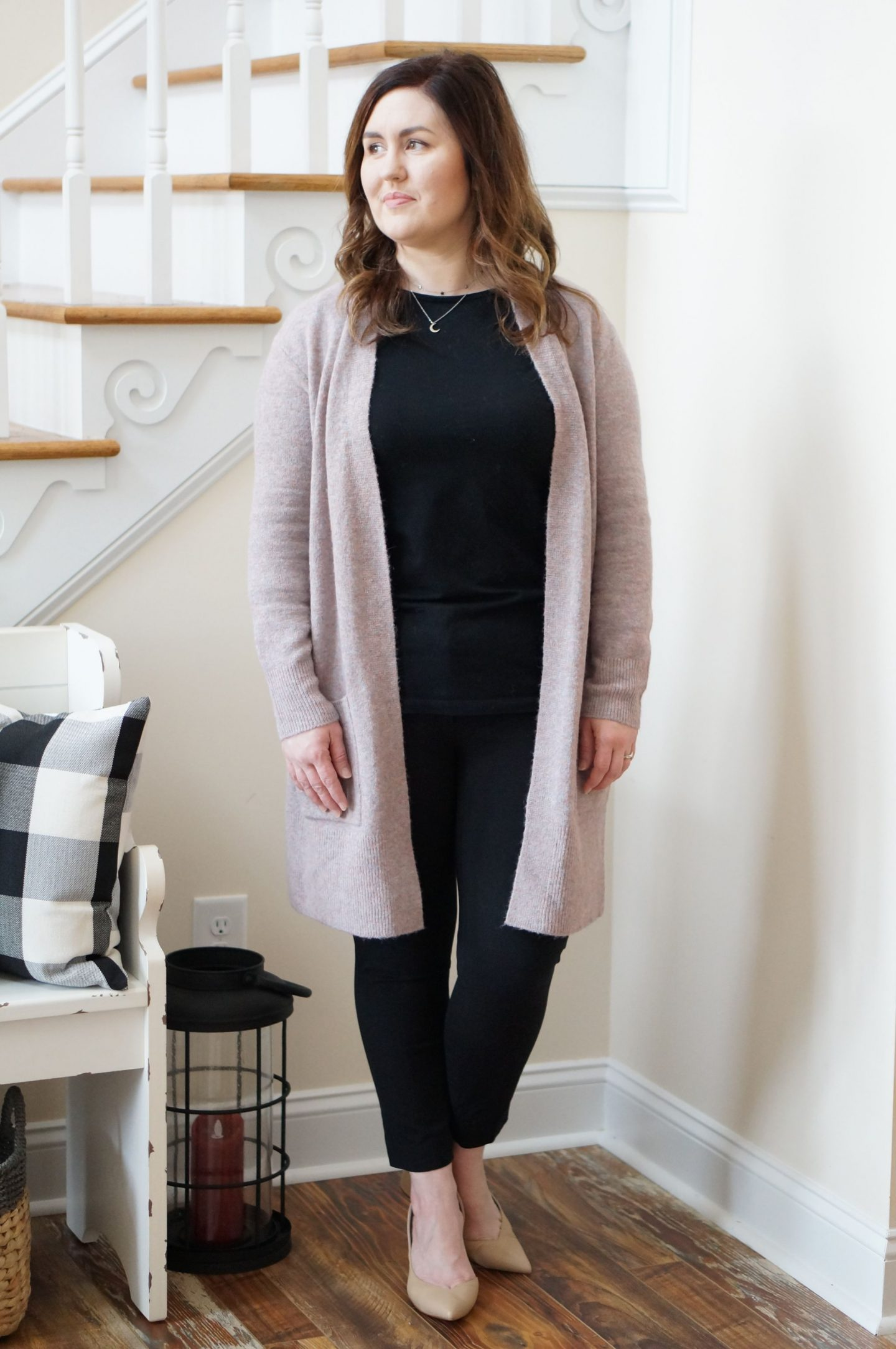 North Carolina style blogger Rebecca Lately shares a simple work outfit featuring a moon and star necklace. Check it out for work inspo!