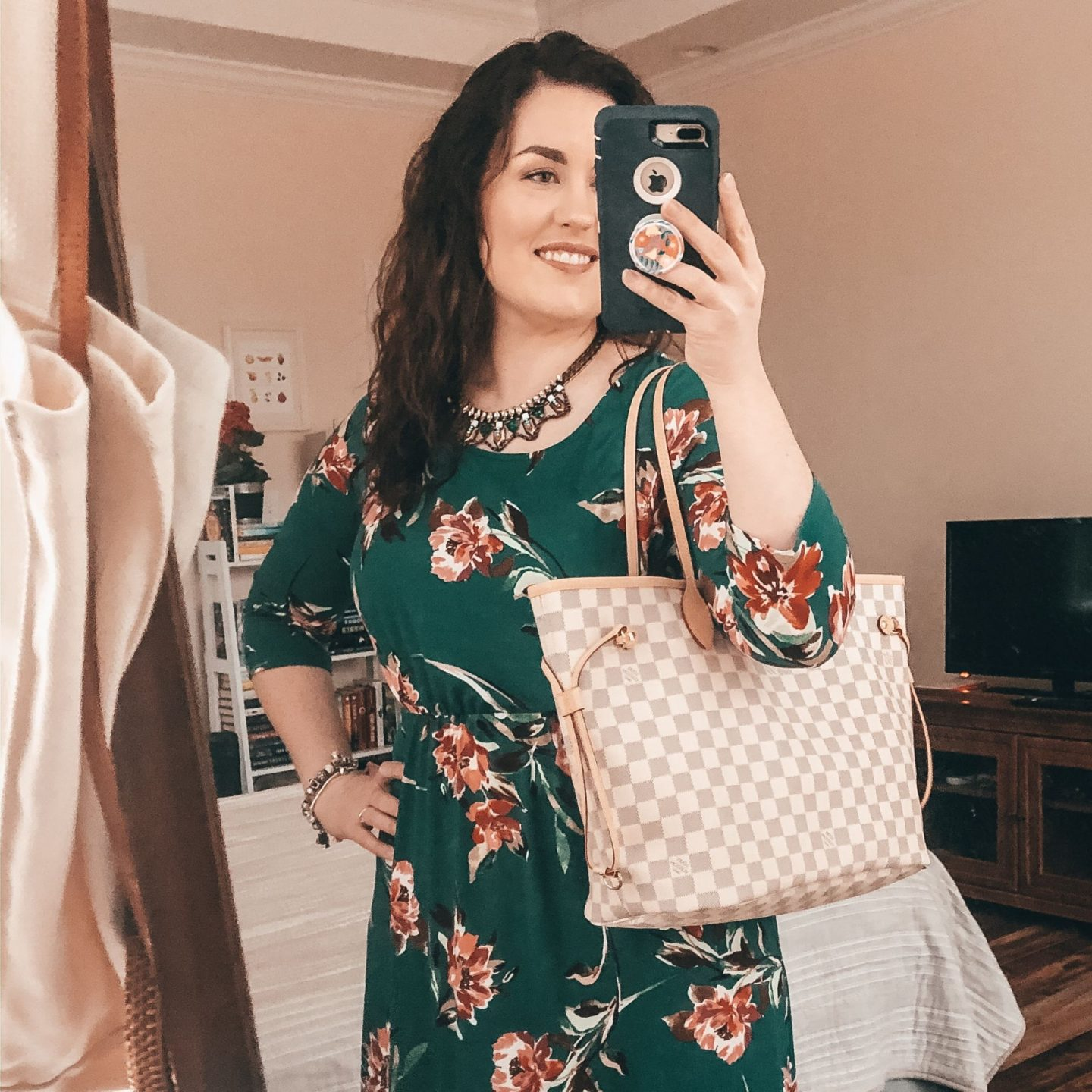 NC blogger Rebecca Lately shares her birthday bag for this year, the Louis Vuitton Neverfull MM in Damier Azur with Rose Ballerine.