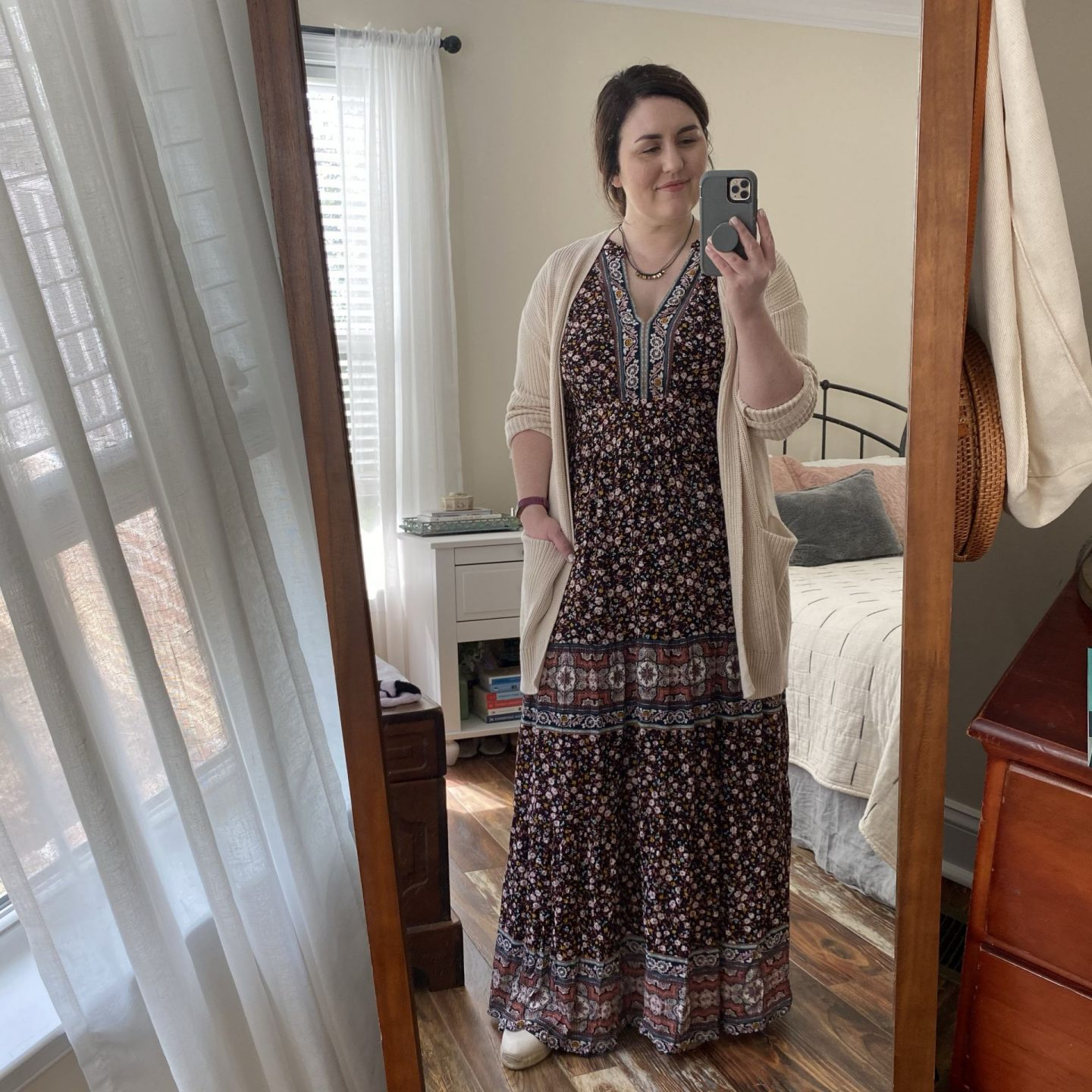 NC blogger Rebecca Lately shares how a boho dress styled three ways.  This boho maxi dress is perfect for Fall!