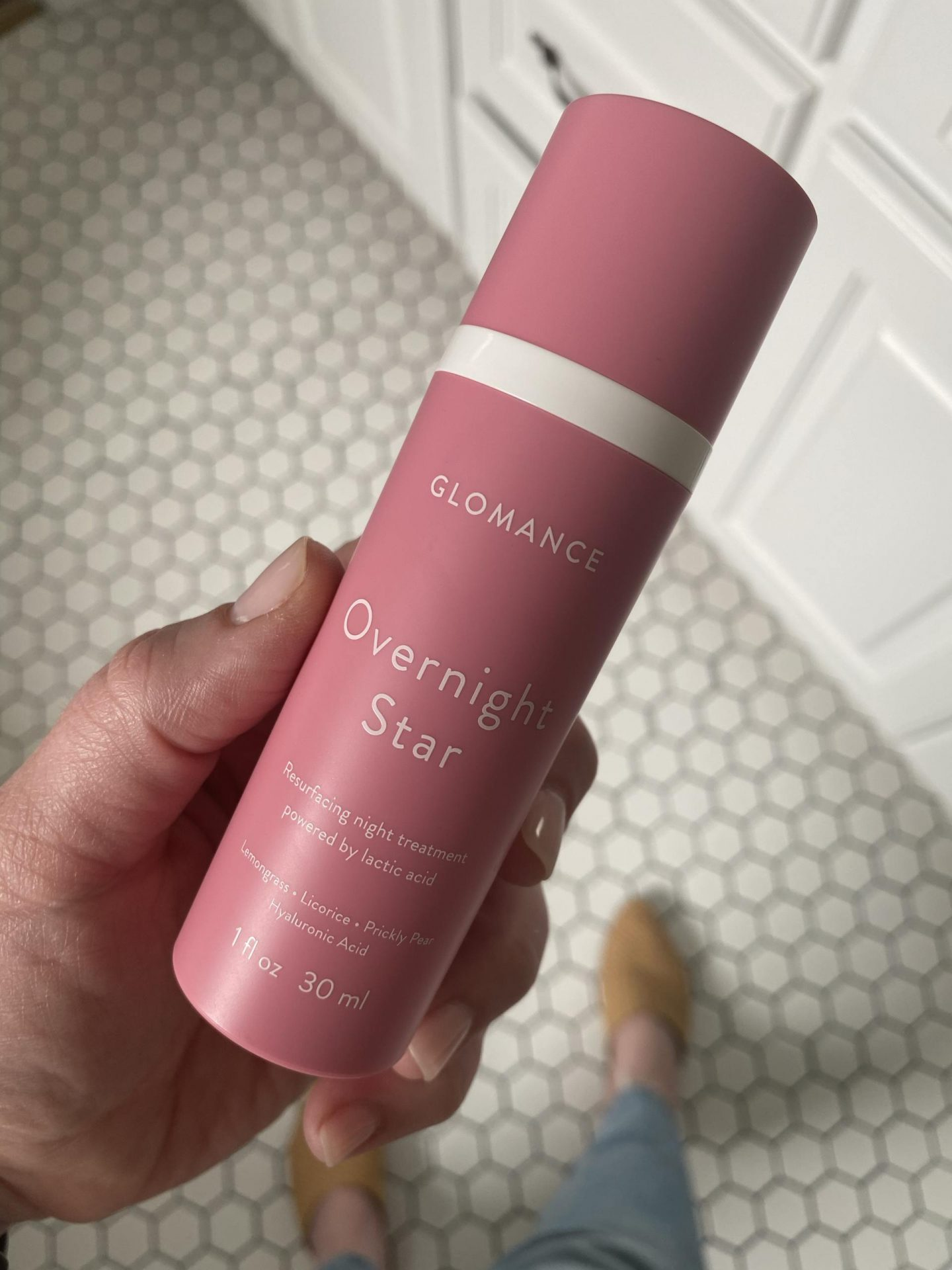 NC blogger Rebecca Lately is sharing her Glomance Serum review.  This gentle lactic acid exfoliator is used 2-3 times a week.