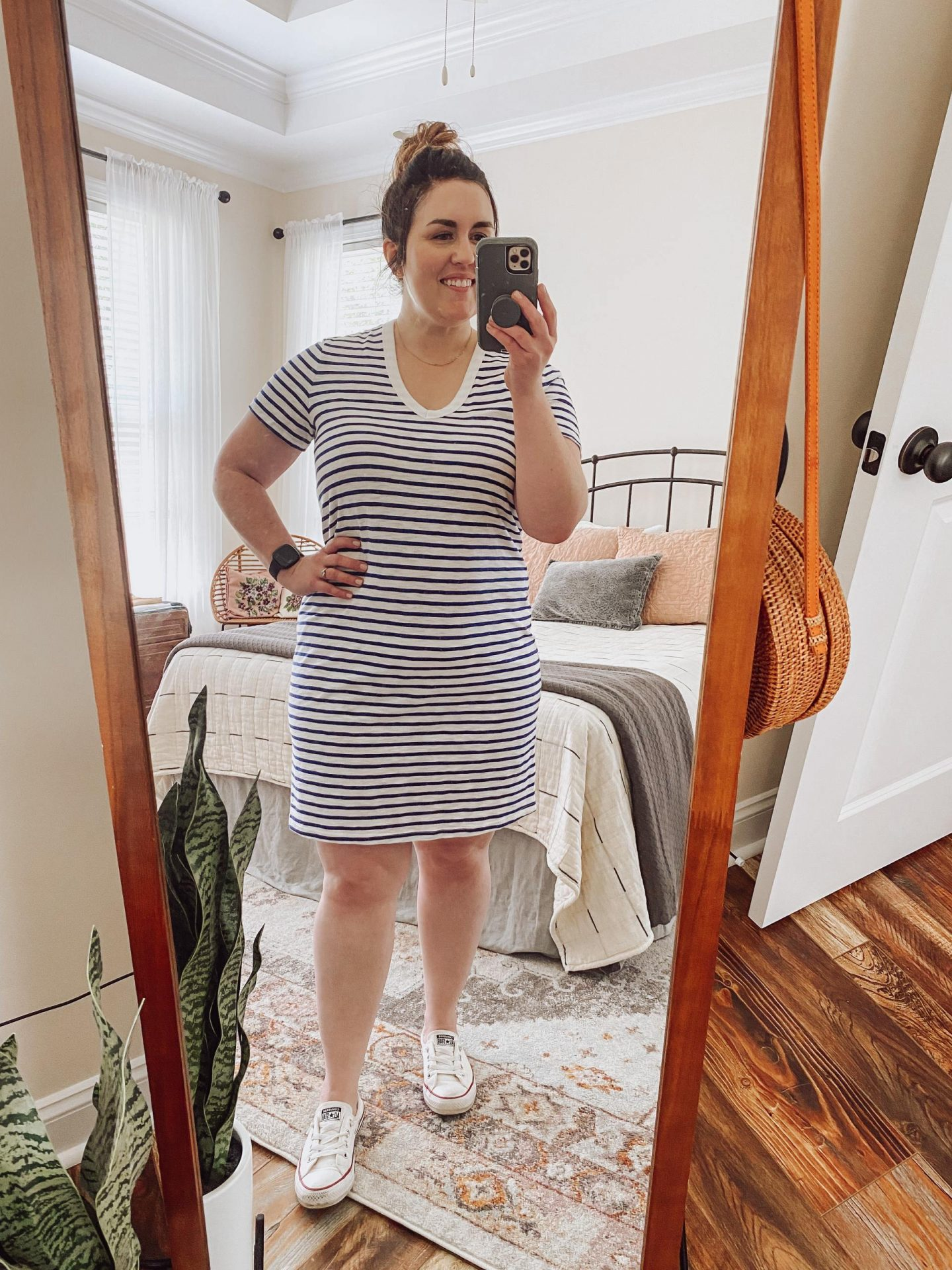 NC blogger Rebecca Lately is sharing how to style a t-shirt dress three ways for the summer. This is the best t-shirt dress from Target!